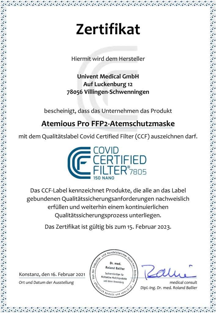 atemious pro ffp2 Zertifikat Univent ccf